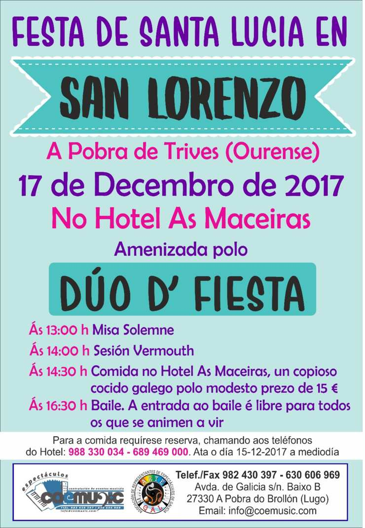 coemusic festas santa lucia 2017 san lorenzo trives