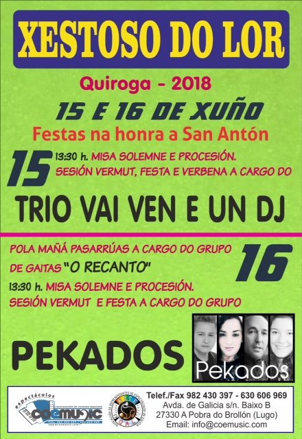 coemusic festas 2019 san anton xestoso do lor quiroga