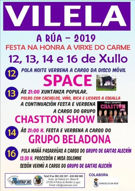 coemusic festas virxe do carme 2019 vilela a rua